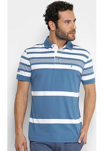 Camisa Polo Listrada Aleatory Manga Curta Masculina - Masculino
