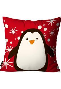 Capa Para Almofada Mdecore Natal Pinguin Vermelha 45X45Cm