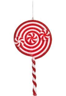 Enfeite Natal Decorativo Pirulito Vermelho E Branco 3 Peças