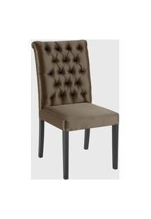 Cadeira Eli 1102 Com Capitone Dourado Daf Marrom