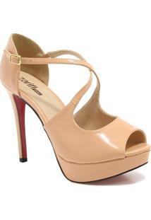 Peep Toe Zariff Shoes Feminino - Feminino-Nude