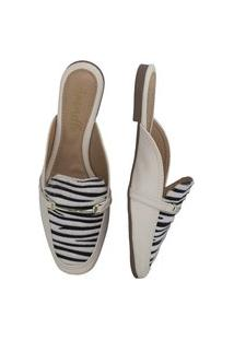 Mule Amorelle Animal Print Sapatilha Square Off-White/Zebra
