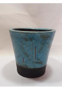 Vaso Rustico Azul Turquesa C/ Detalhe Preto Na Base - Multicolorido - Dafiti