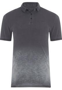 Polo Masculina Estampa Logo - Cinza