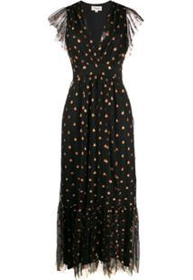 Temperley London Vestido Evasê Com Estampa De Paetês - Preto