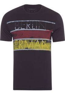 Camiseta Masculina Ckj Mc Estampa Países - Preto