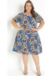 Vestido Floral Azul Ombro A Ombro Plus Size
