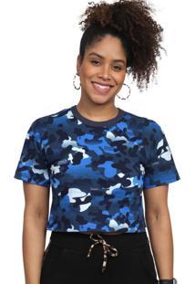 Camiseta Cropped Kings Sneakers Camuflado Azul - Gg - Estampado - Feminino - Dafiti