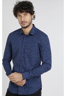 Camisa Masculina Slim Estampada De Folhagem Manga Curta Azul Marinho