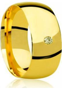 Aliança Prata Mil Lisa Liga De Moeda C/ Zircônia 10Mm (Unidade) Dourada