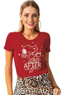 Blusa Estampa Frente E Costas Vermelho Snoopy