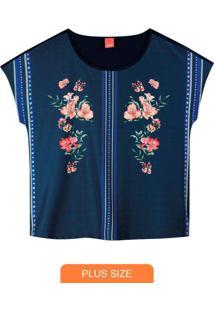 Blusa Azul Marinho Ampla Floral