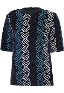 Blusa Colcci Veludo Bordado Azul-Marinho