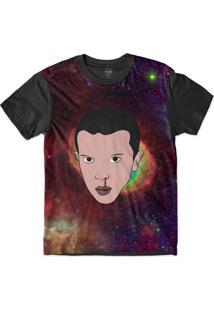 Camiseta Insane 10 Stranger Things Eleven Galáxia Sublimada Preto