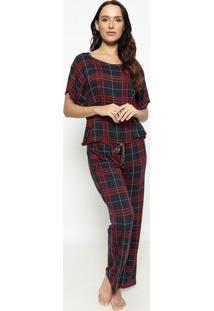 Pijama Xadrez - Vermelho & Azul - Hopehope