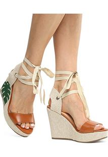 Sandália Anabela Shoestock Tropical Feminina - Feminino-Caramelo