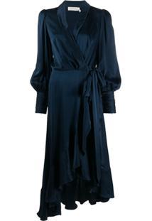 Zimmermann Vestido Envelope Midi De Seda - Azul