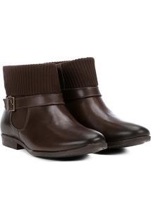 Bota Couro Cano Curto Shoestock Canelada Feminina - Feminino-Café