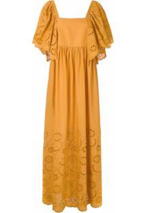 Andrea Marques Vestido Franzido Com Babados - Amarelo