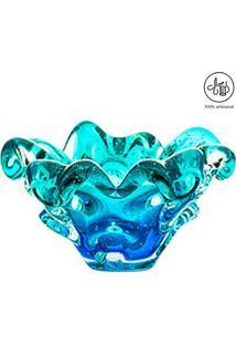 Cinzeiro Pequeno Texturizado- Azul & Verde Água- 8Xøcristais São Marcos