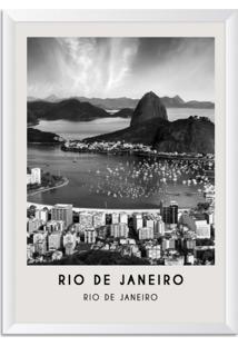 Quadro Oppen House 65X45Cm Cidades Rio De Janeiro Brasil Moldura Branca Com Vidro - Oppen House Decora