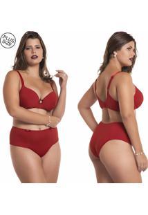 Conjunto Lingerie Estilo Sedutor Plus Size Em Microfibra Vermelho - Vermelho - Feminino - Dafiti