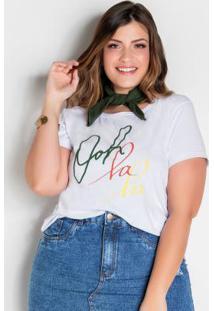T-Shirt Branca Plus Size Com Lenço Grátis