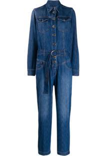 Pinko Macacão Jeans Com Mangas Longas - Azul