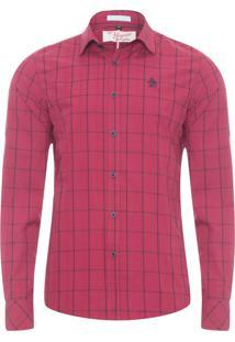 Camisa Masculina Xadrez Carbon - Vermelho