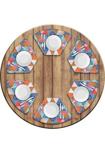 Jogo Americano Love Decor Para Mesa Redonda Wevans Abstract Mandalas Kit Com 6 Pçs