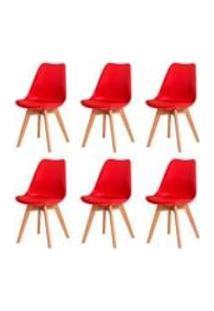 Kit 6 Cadeiras Leda Saarinen Design Vermelha Sala Cozinha Jantar