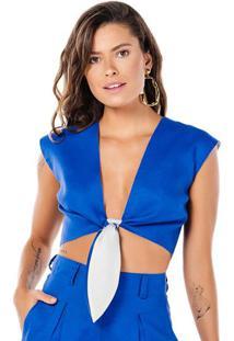 Blusa Cropped Em Linho Com Amarração - Azul - Fleeuse Flee