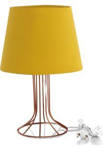 Abajur Torre Dome Amarelo Mostarda Com Aramado Cobre