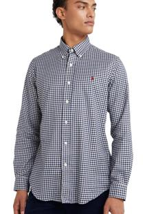Camisa Ralph Lauren Poplin Custom Fit Blue