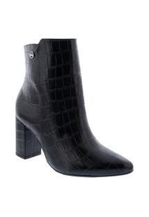 Ankle Boot Via Marte Salto Bloco Textura Croco Preto 204902