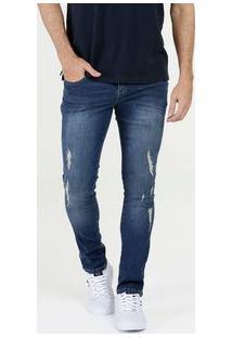 Calça Masculina Jeans Skinny Puídos Biotipo