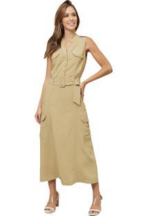 Vestido Mx Fashion Midi De Viscose Vanice Caqui