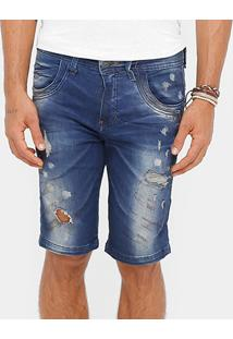 Bermuda Jeans Zune Slim Fit Respingos Stone Masculina - Masculino
