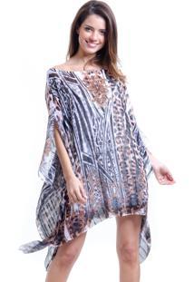 Kaftan 101 Resort Wear Vestido Crepe Ombro A Ombro Plus Size Onca Marrom