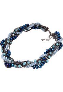 Maxi Colar Cimme Azul Com Cristal