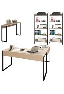 Conjunto Escritório Mesa Em L Aparador E 2 Estantes Studio Industrial