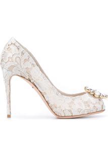 Dolce & Gabbana Scarpin Com Renda E Aplicações De Cristais - Neutro