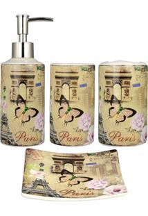 Kit Banheiro R3P Import Lavabo Acessório Jogo Saboneteira Líquida Porta Escova Pasta Dente Monumentos De Paris