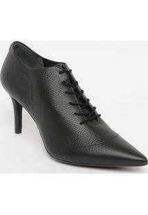 Ankle Boot Em Couro Com Amarração- Preta- Salto: 8Cmjorge Bischoff
