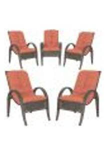 Cadeiras 5Un P/ Jardim Lazer Edicula Varanda Descanso Fibra E Tramas Napoli Plus Pedra Ferro A40