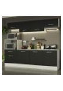 Cozinha Completa Madesa Onix 240001 Com Armário E Balcão - Branco/Preto