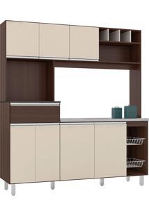 Cozinha Compacta 7 Portas E 1 Gaveta Maria-Poliman - Amendoa / Off White