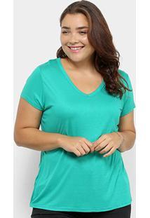 Blusa Lecimar Básica Plus Size Feminina - Feminino-Verde