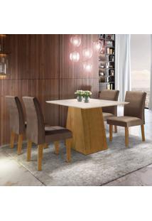 Conjunto Sala De Jantar Mesa Tampo Mdf Arezo 4 Cadeiras Espanha Siena Móveis Ypê