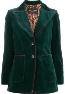 Etro Blazer De Veludo Cotelê Com Abotoamento Único - Verde